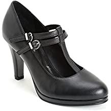 Alesya by Scarpe&Scarpe - Zapatos de Salón con T-Bar y Doble Correa, de Piel