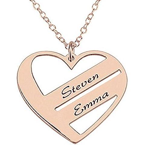 HACOOL in argento Sterling 925, pendente a forma di cuore personalizzato Name-Collana personalizzata con nome