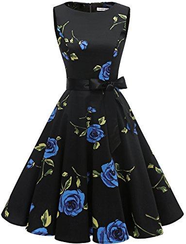 Gardenwed Damen Vintage 1950er Partykleid Rockabilly Ärmellos Retro Cocktailkleid Blue Rose XS