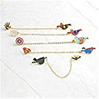 FULAISI 4pcs Cute Superhero Enamel Lapel Pin Set - Cartoon Super Hero Brooch Pin Badges for for Unisex Child Clothes Bags Backpacks Clothing Decorate