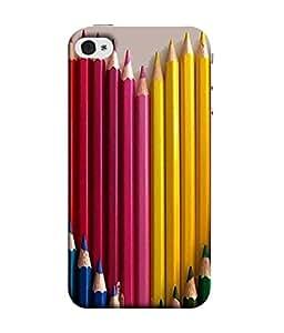 PrintVisa Colorful Pencils 3D Hard Polycarbonate Designer Back Case Cover for Apple iPhone 5