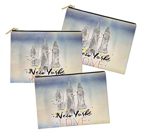 Timingila Lavendelblau blau architektonisch Mehrzweck Kosmetiktasche Federmäppchen Tasche Packung mit 3 Packung mit