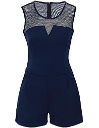 Laeticia Dreams Damen Overall Jumpsuit Catsuit Einteiler Kurz Ärmellos Netz S M L XL