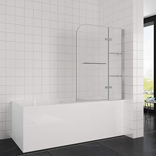 Elegant 90x120 cm(BxH) Badewannenaufsatz Duschabtrennung, 2-teilig faltbar Duschwand für Badewanne mit Handtuchhalter - Druckguss-wand-halterung