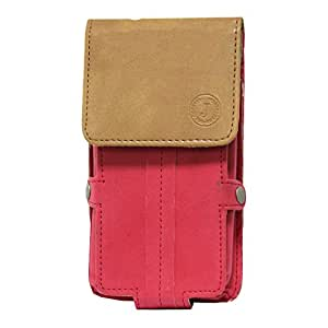 Jo Jo A6 Nillofer Series Leather Pouch Holster Case For Motorola RAZR V XT889 Red Tan