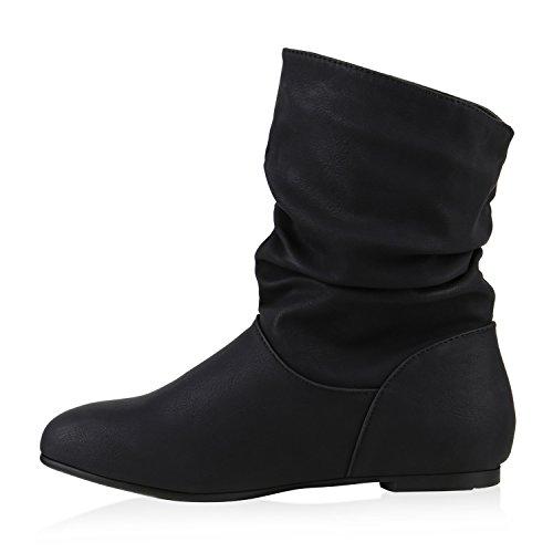 Komfort Damen Lederoptik Schlupfstiefel Schwarz Stiefeletten Schuhe CCg6qn