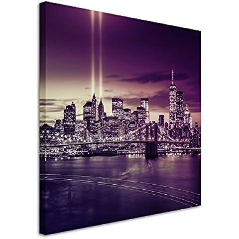 60x 60cm murale foto tela in colore malva New York Brooklyn Bridge Manhattan River Hudson Boot