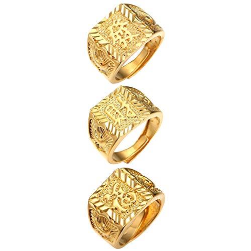 JewelryWe Schmuck 3pcs Herren-Ring Vergoldet Reich/Glück/Reichtum Band Siegelring Bandring einstellbare Größe
