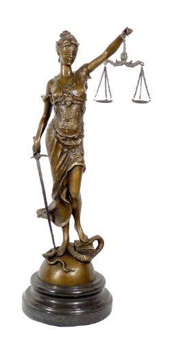 Kunst & Ambiente - Große Justitia Bronze Skulptur mit Schwert + Waage - signiert Milo - 100% Bronze - Justitia Figur - Griechische Skulptur Göttin -