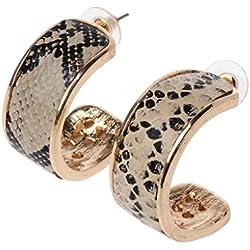 JERKKY Pendientes de aro Grandes con Estampado de Piel de Serpiente Mujer Joyería de declaración geométrica de Cuero
