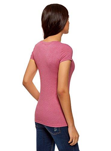 oodji Collection Damen T-Shirt mit Breitem V-Ausschnitt Rosa (4100M)