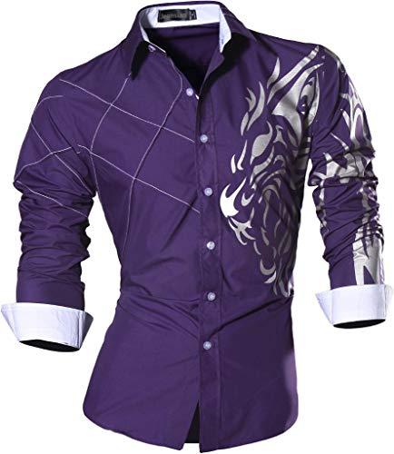 Jeansian uomo camicie maniche lunghe moda men shirts slim fit causal long sleves fashion z030 purple xl