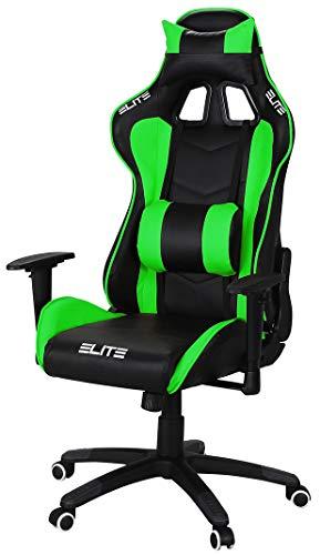 ELITE Racing Gaming Stuhl MG-200 - Bürostuhl - Kunstleder - Ergonomisch - Racer - Drehstuhl - Chair - Chefsessel - Schreibtischstuhl (Schwarz/Grün)
