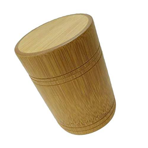 D DOLITY Rund Bambus Vorratsdose Teebox Teedose Kaffeedose mit Deckel - B