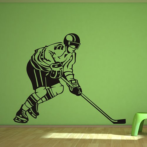 Vista laterale Giocatore di hockey Wall Art Stickers Adesivo Art