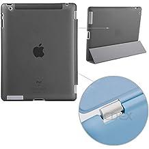 doupi Backcase Arrière Coque iPad ( 5. Generation 2017 Modell ) - convient doupi Smart Cover - Extra Fixation et Protection - Mat Semi Transparent, Noir