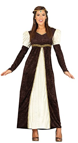 Guirca-88197 Costume da Principessa Medievale Donna per Adulti, Marrone, Taglia 38-40, 88197