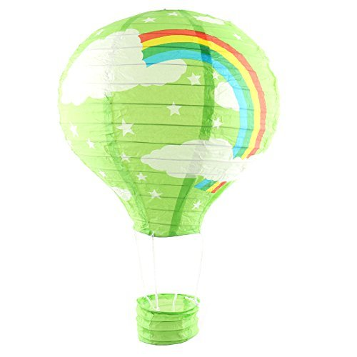 DealMux Papier Regenbogen-Muster Jahrestag Fest Lightless Hänge DIY Dekoration Heißluft-Ballon Laterne Grün
