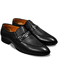 FEETWAY SYNTHETIC LEATHER MEN'S SLIP ON DESIGNER FOMAL SHOES WITH SHINNING BUCKLE(RM1)
