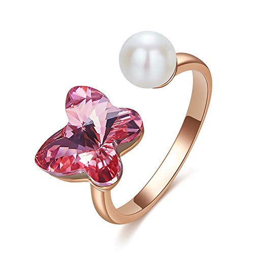 CCWANRZ Frauen Rose Gold Ring verziert mit Kristallen von Pearl Ring für Frauen Engagement Butterfly Ring, GoldRings von Jewelry & Accessories (Pearl Solitaire Halskette)