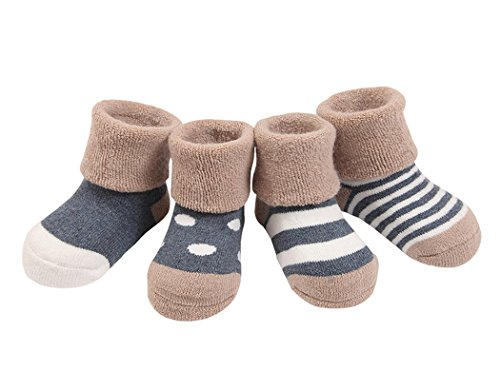4 Paare Baby Mädchen Socken Lieblich Herbst Winter Weich Baumwolle Bunt 6-12 Monate - Marineblau