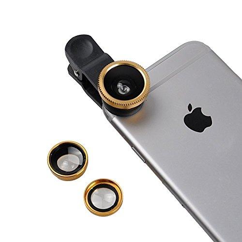 ONX3 XOLO A1010 (Gold) Weit Handy Universalkameraobjektiv 3 in 1 Kit Winkelobjektiv + Fisheye Objektiv + Makroobjektiv mit Clip-on 180 Grad für beide Android und iOS-Geräte -