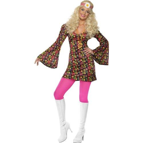 Karneval Damen Kostüm Disco Hippie sexy Kleid 60er Jahre Größe (Kleider Sexy Disco)