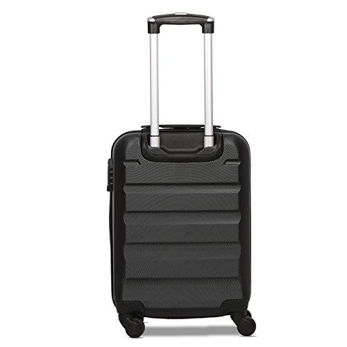 Aerolite ABS Hartschale 4 Rollen Leichtgewicht Handgepäck Kabinenkoffer mit eingebautem TSA Schloss, Genehmigt für Ryanair, British Airways & viele Mehr, 3 Teiliges Kofferset, Schwarz - 6