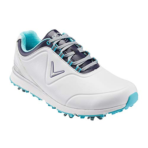 Callaway Lady Mulligan Waterproofs, Scarpe da Golf Donna, Bianco White/Blue, 41 EU