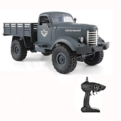 Spielzeuge Xiaomei Ferngesteuerter LKW, 2,4 GHz 1:16 4x4 Off Road Military Truck Transporter mit Licht, wiederaufladbares Kinder (Farbe : Blau)