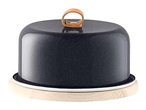 LSA International Utility, piatto da formaggio con copertura a campana, base in frassino, color nero pepe, 20 cm