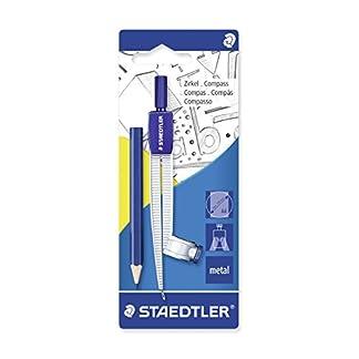 Staedtler 55055BK Compás escolar con adaptador universal y adicional pequeñas lápiz en blíster, azul/plata