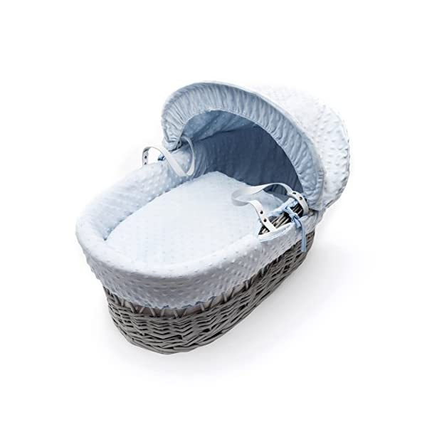 Blue Dimple Grey Wicker Padded Moses Basket & Deluxe Grey Rocking Stand Elegant Baby Suitable from newborn for up to 9kg, this Moses Basket uses Easy-care Poly Cotton with a soft padding surround Suitable from newborn to 9 months It also includes a comfortable mattress and an adjustable hood perfect to create a cosy sleeping space for your precious little one 3