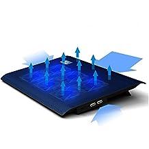 Base de Refrigeración Portátil, Foneso Laptop Cooling Pad Enfriador con 6 Ventiladores Silenciosos para el Cuaderno y el Laptop,Color Negro