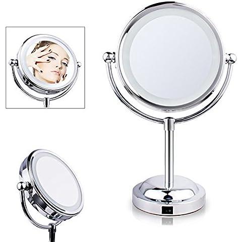 DISINO ovale doppio lato illuminato Specchio specchio cosmetico con LED Light & ingrandimento 3x rotonda girevole tavolo illuminato trucco dello specchio con la luce morbida del LED per bagno, Vanità, Cosmetics - Argento