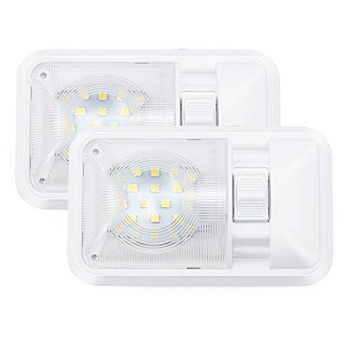 Kohree – Pack 2 12V LED 24SMD 5050 280LM Luz Interior Adorno de la Bóveda de Coche Lámpara Blanco del Techo para Autocaravana con Interruptor Aprobada por CE y RoHs