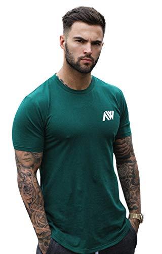Aspire Wear Core T-Shirt, Muscle Fit, bequem, Stretch, ideal für Fitness-Training oder Freizeit. Gr. L, smaragdgrün