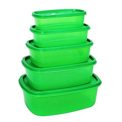 Boîtes de Conservation alimentaire–Compact Nid de stockage Boîtes repas–chanson de récipients hermétiques, 5PC réfrigérateur, congélateur, lave-vaisselle, micro-ondes et lave-vaisselle, sans BPA, Bonus 2tailles Sacs de