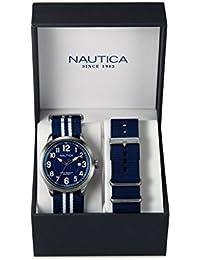 Nautica Reloj Analógico de Cuarzo para Hombre con Correa de Nylon, Piel – NAI11509G_Silver Tone