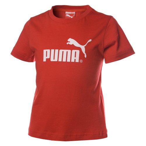 PUMA Kinder T-Shirt Boys Large Logo Tee, puma red, 104, 813743 02