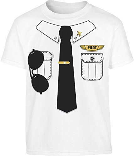 Verkleidung Karneval Kleinkind Kinder T-Shirt - Gr. 86-128 6T Weiß (Mädchen Kostüm Pilot)