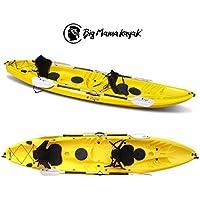 Tango Big Mama Kayak Canoa de 370cm con 2+ 1plazas + 2remos + + 2PORTACANNE + 2gavoni (Pack 1), amarillo