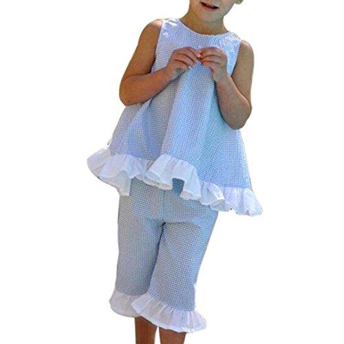 Tomsent Sommer 2PCS Mädchen Kleidung Set Kinder Baby Niedlich Bogen Weste Tops + Shorts Hose Kleider Set Outfits Blau 80 (Trikots Animal-print)