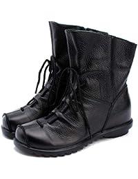Mujeres Estilo Vintage Cuero Botas de Invierno de Zapatos Casual al Aire Libre de Botas Cremallera