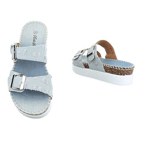 Pantoletten Damenschuhe Jazz & Modern Moderne Ital-Design Sandalen / Sandaletten Hellblau