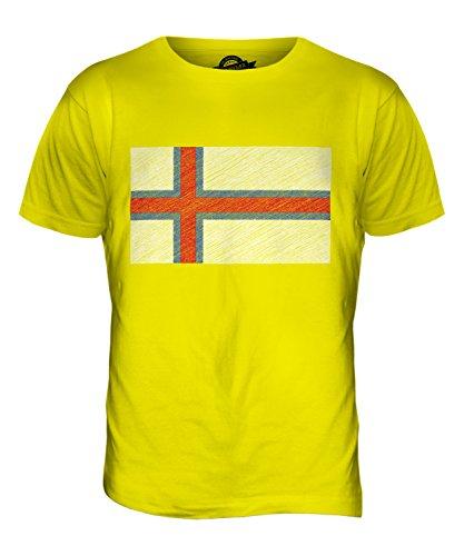 CandyMix Färöer Kritzelte Flagge Herren T Shirt Zitronengelb