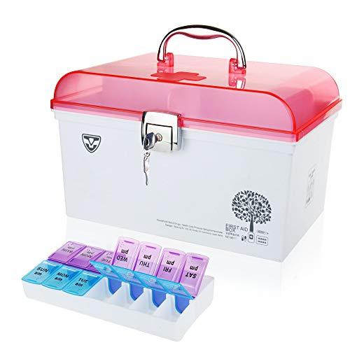 REAQER Medizin-Box Abschließbar Doppelschicht Erste Hilfe Koffer mit Griff mit Einlegefach Medizinbox Erste Hilfe-Aufbewahrungskasten Familie Reisen(11.4 * 7.1 * 7.5 inch)