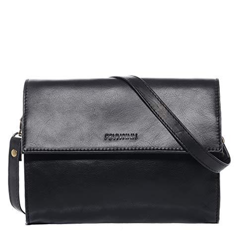 FEYNSINN Clutch Leder Cathy Unterarmtasche Damen Abendtasche Damen Tasche echte Ledertasche Damentasche schwarz
