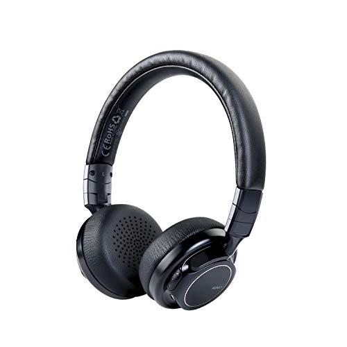 [Verbesserte] AUKEY Bluetooth Kopfhörer Kabellos on Ear, Dual 40mm Treiber mit Sattem Bass, 18 Stunden Spielzeit, Mikrofon und 3,5-mm-Audioeingang, Transportetui, Ermüdungsfreies Tragen