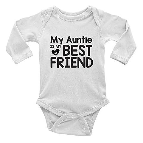 My Auntie is my Best Friend Cute Long Sleeve Baby Vest Bodysuit